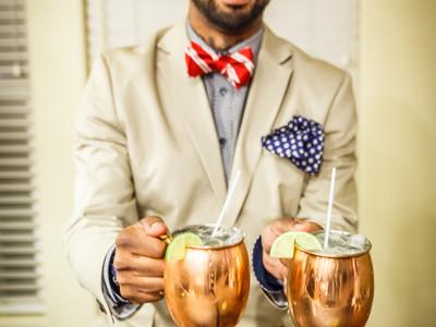 bartender serves moscow mule